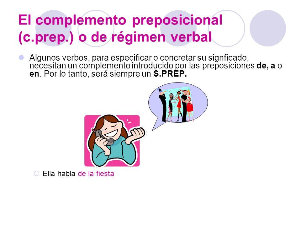 El complemento preposicional (c.prep.) o de régimen verbal Algunos verbos, para especificar o concretar su signficado, necesitan un complemento introd