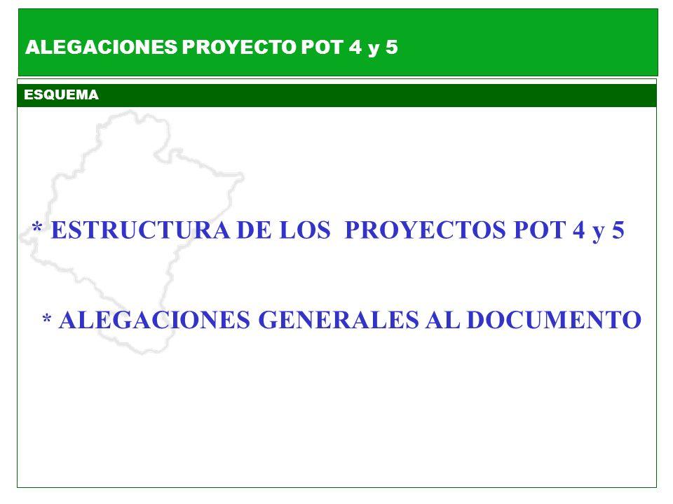 ALEGACIONES PROYECTO POT 4 y 5 * ALEGACIONES GENERALES AL DOCUMENTO ESQUEMA * ESTRUCTURA DE LOS PROYECTOS POT 4 y 5