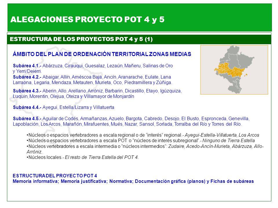 ESTRUCTURA DE LOS PROYECTOS POT 4 y 5 (1) ÁMBITO DEL PLAN DE ORDENACIÓN TERRITORIAL ZONAS MEDIAS Subárea 4.1.- Abárzuza, Cirauqui, Guesalaz, Lezaún, M