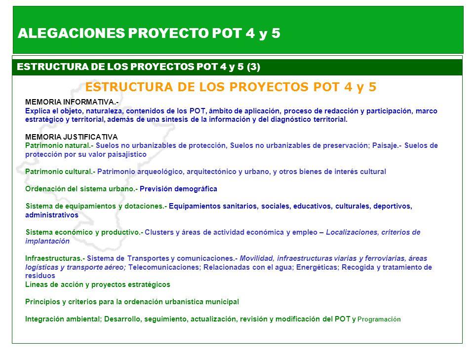 ESTRUCTURA DE LOS PROYECTOS POT 4 y 5 (3) ESTRUCTURA DE LOS PROYECTOS POT 4 y 5 MEMORIA INFORMATIVA.- Explica el objeto, naturaleza, contenidos de los