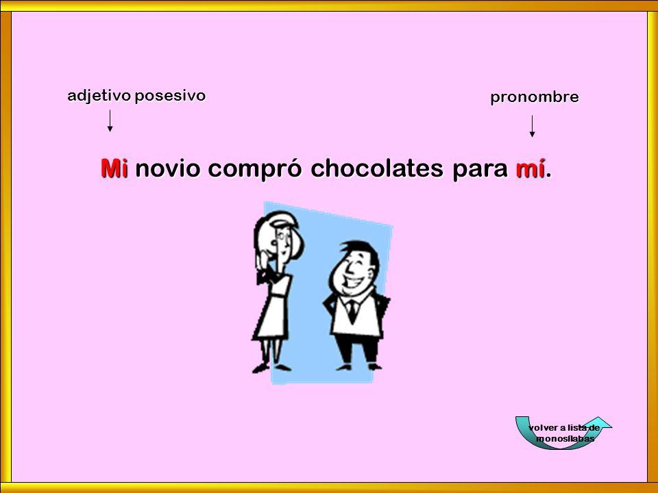 volver a lista de monosílabasMi novio compró chocolates para mí. adjetivo posesivo pronombre