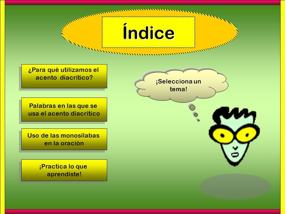 Índice ¿Para qué utilizamos el acento diacrítico? ¿Para qué utilizamos el acento diacrítico? Palabras en las que se usa el acento diacrítico Palabras