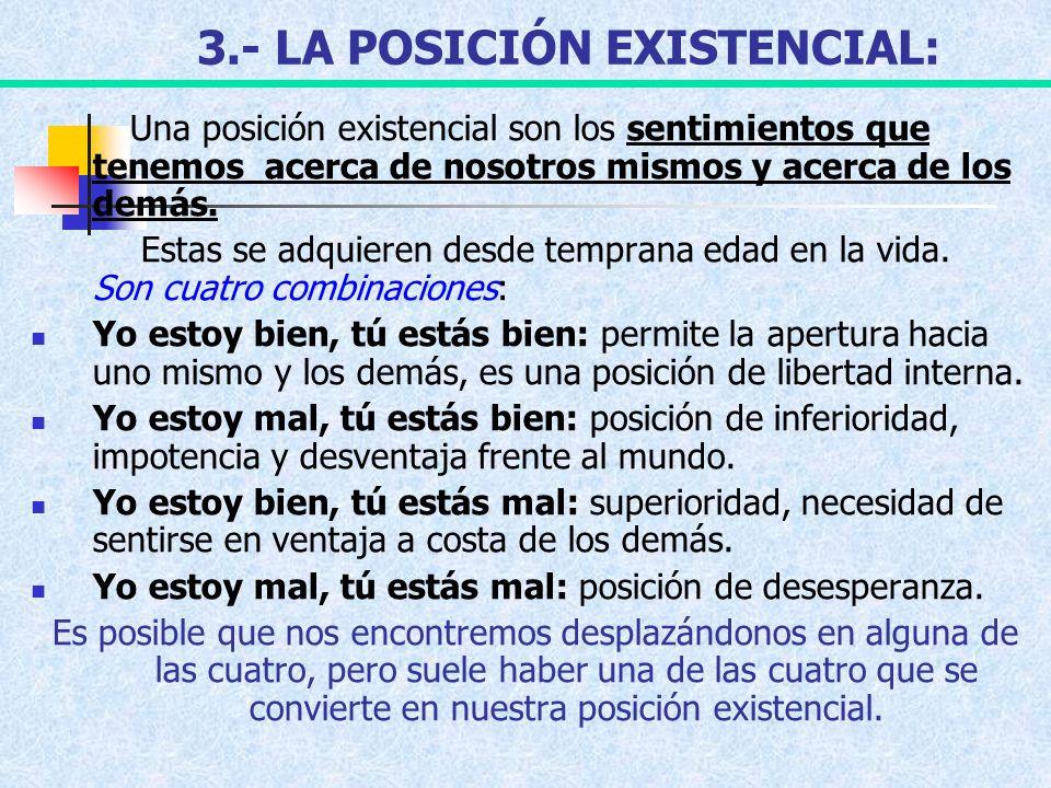 3.- LA POSICIÓN EXISTENCIAL: Una posición existencial son los sentimientos que tenemos acerca de nosotros mismos y acerca de los demás. Estas se adqui
