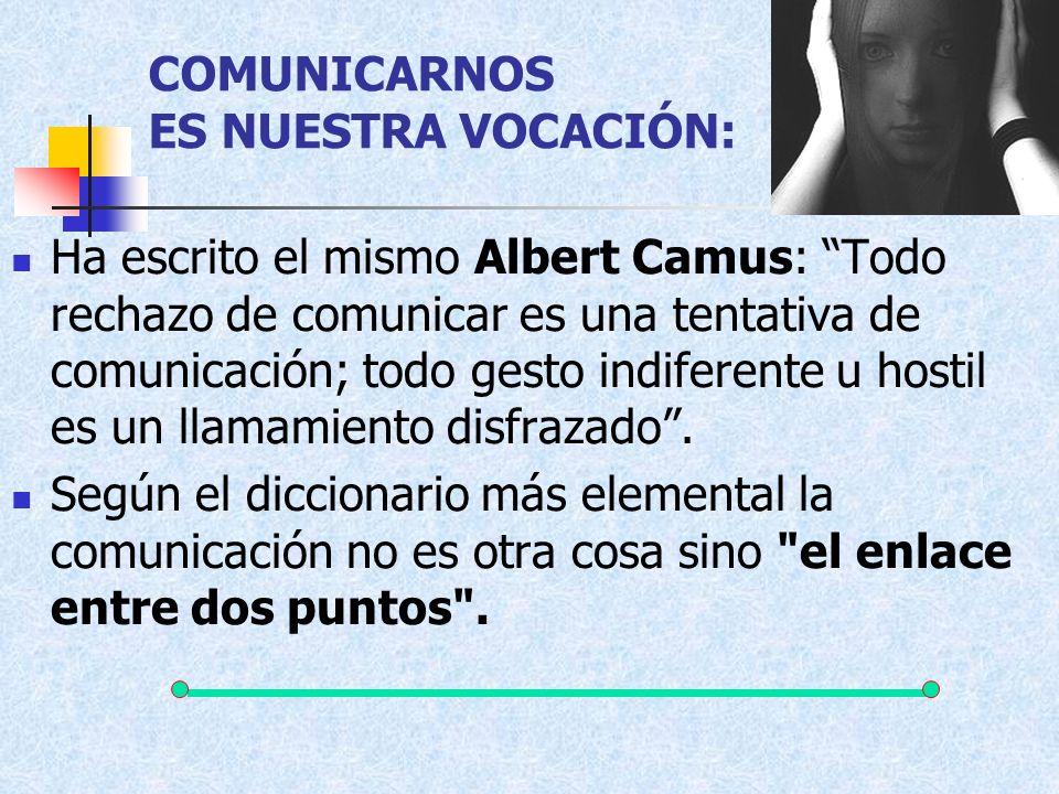 COMUNICARNOS ES NUESTRA VOCACIÓN: Ha escrito el mismo Albert Camus: Todo rechazo de comunicar es una tentativa de comunicación; todo gesto indiferente