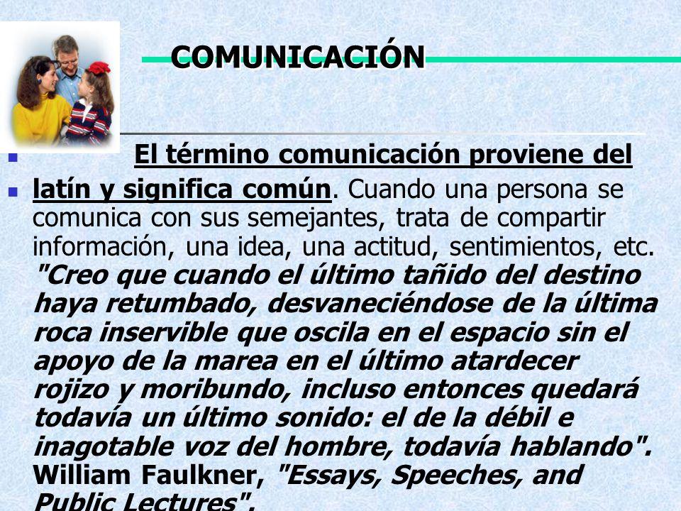 El término comunicación proviene del latín y significa común. Cuando una persona se comunica con sus semejantes, trata de compartir información, una i