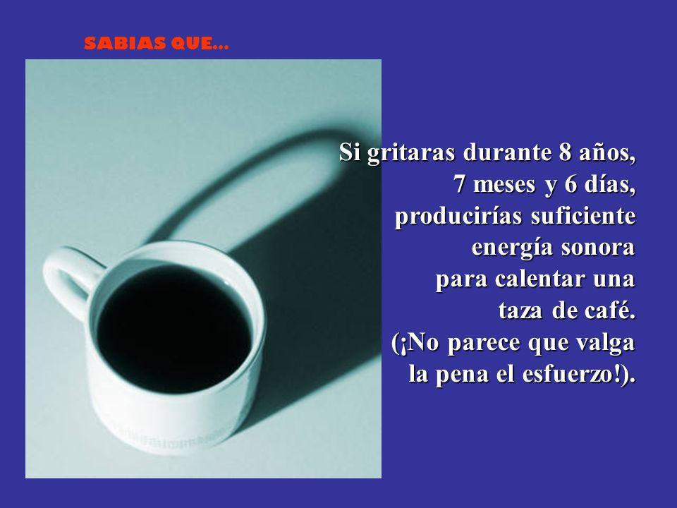 SABIAS QUE… Si gritaras durante 8 años, 7 meses y 6 días, producirías suficiente energía sonora para calentar una taza de café.