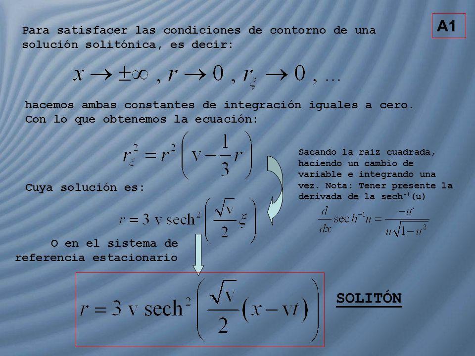 Para satisfacer las condiciones de contorno de una solución solitónica, es decir: hacemos ambas constantes de integración iguales a cero. Con lo que o