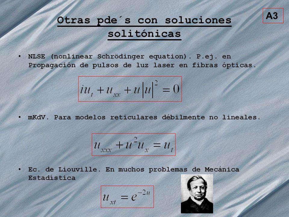 A3 Otras pde´s con soluciones solitónicas NLSE (nonlinear Schrödinger equation). P.ej. en Propagación de pulsos de luz laser en fibras ópticas. mKdV.