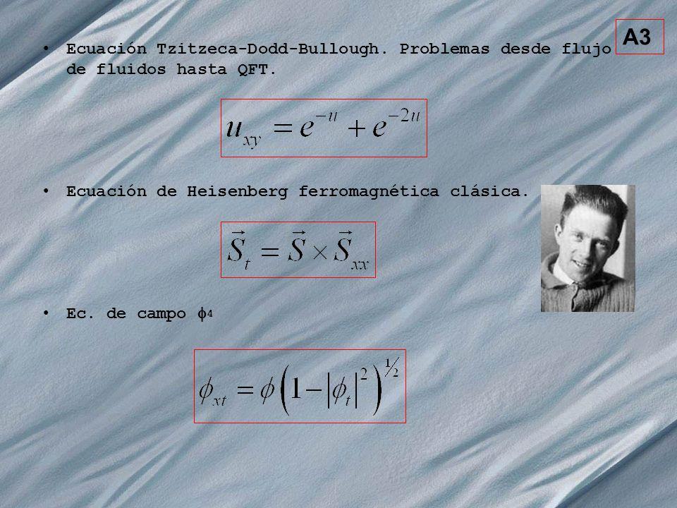 A3 Ecuación Tzitzeca-Dodd-Bullough. Problemas desde flujo de fluidos hasta QFT. Ecuación de Heisenberg ferromagnética clásica. Ec. de campo 4