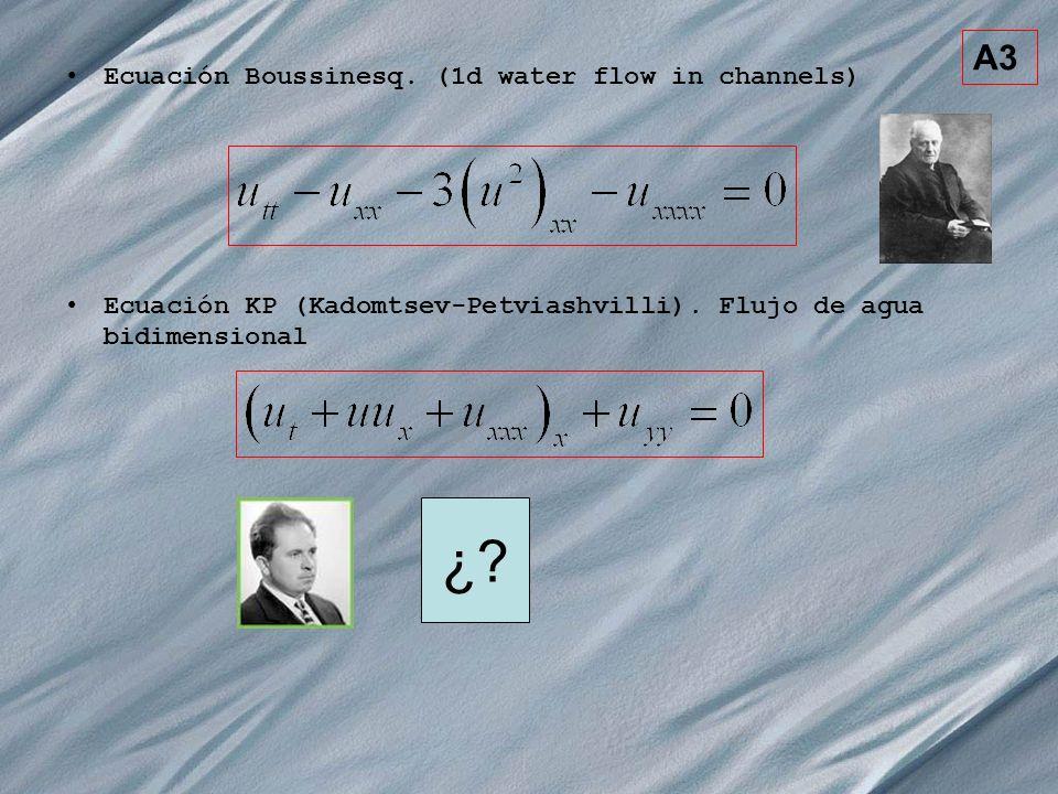 A3 Ecuación Boussinesq. (1d water flow in channels) Ecuación KP (Kadomtsev-Petviashvilli). Flujo de agua bidimensional ¿?