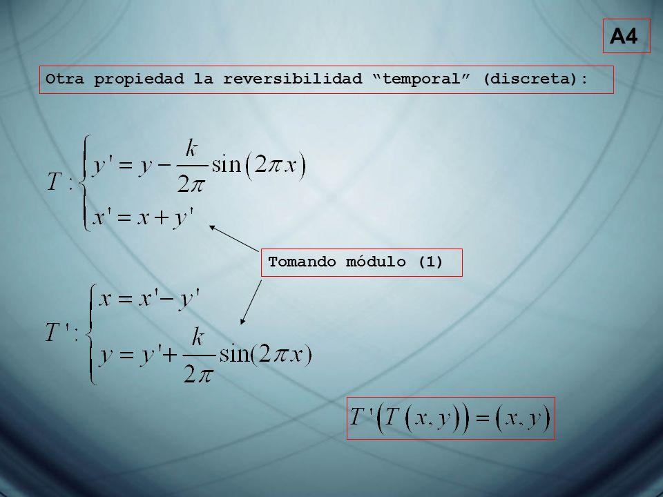 A4 Otra propiedad la reversibilidad temporal (discreta): Tomando módulo (1)