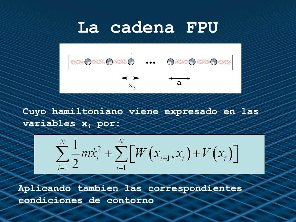 La cadena FPU Cuyo hamiltoniano viene expresado en las variables x i por: Aplicando tambien las correspondientes condiciones de contorno a