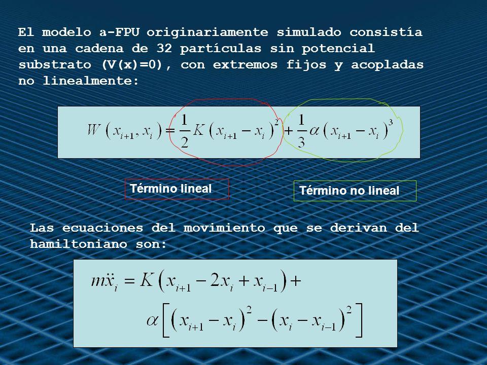 El modelo a -FPU originariamente simulado consistía en una cadena de 32 partículas sin potencial substrato (V(x)=0), con extremos fijos y acopladas no