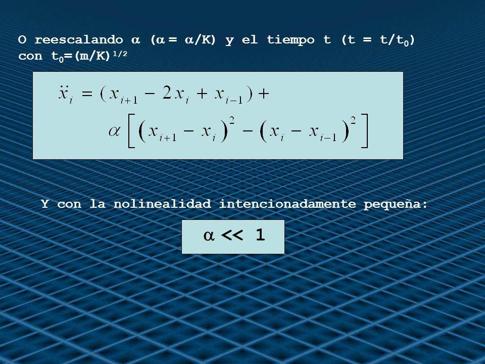O reescalando ( = /K) y el tiempo t (t = t/t 0 ) con t 0 =(m/K) 1/2 Y con la nolinealidad intencionadamente pequeña: << 1