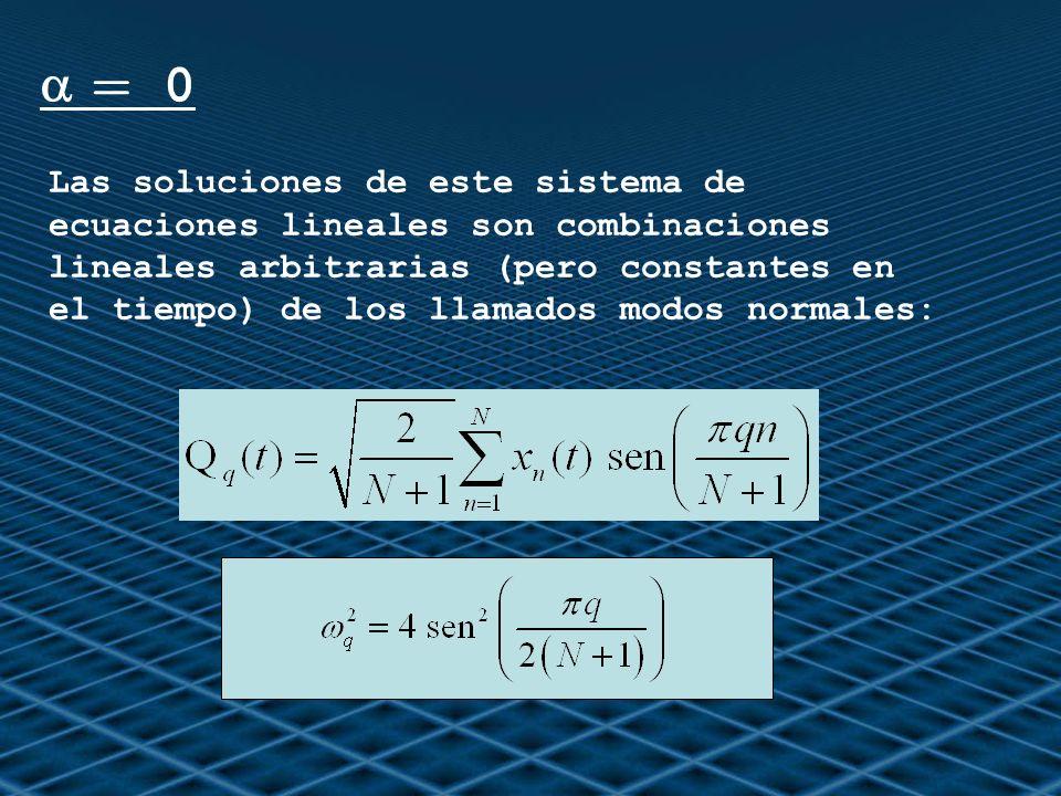 = 0 Las soluciones de este sistema de ecuaciones lineales son combinaciones lineales arbitrarias (pero constantes en el tiempo) de los llamados modos