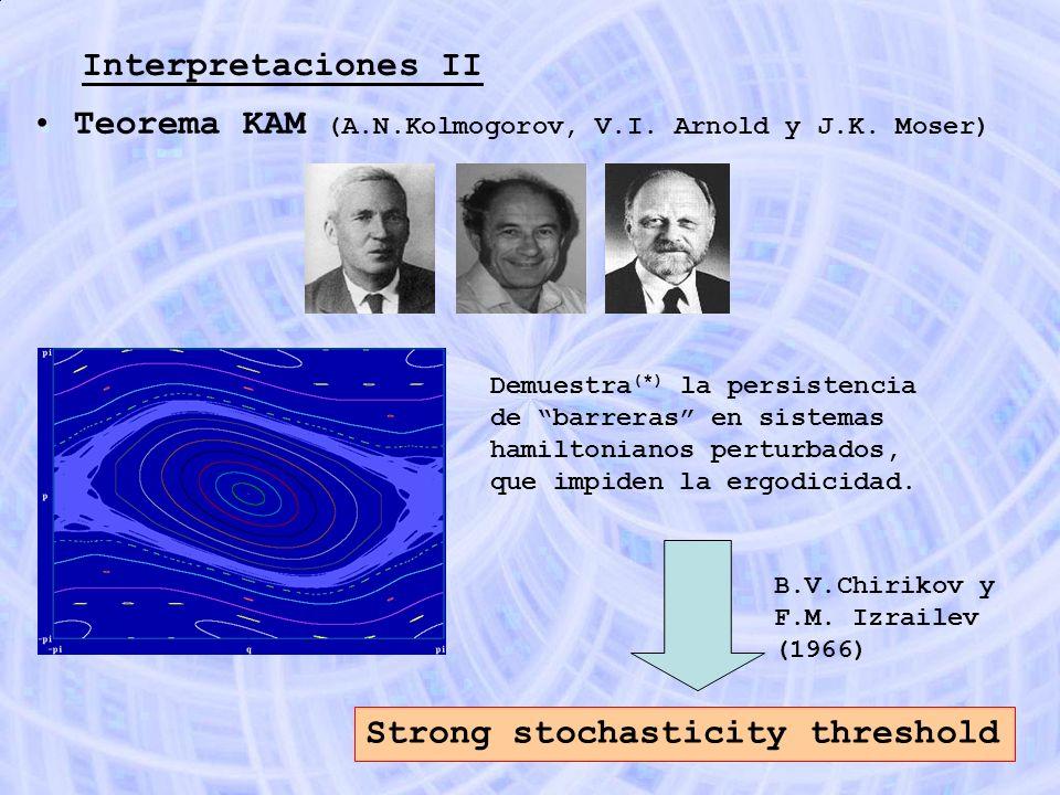 Interpretaciones II Teorema KAM (A.N.Kolmogorov, V.I. Arnold y J.K. Moser) Demuestra (*) la persistencia de barreras en sistemas hamiltonianos perturb