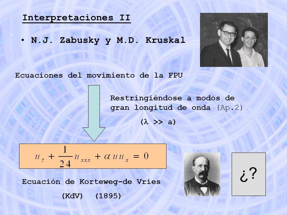 Interpretaciones II N.J. Zabusky y M.D. Kruskal Ecuaciones del movimiento de la FPU Restringiéndose a modos de gran longitud de onda (Ap.2) ( >> a) Ec