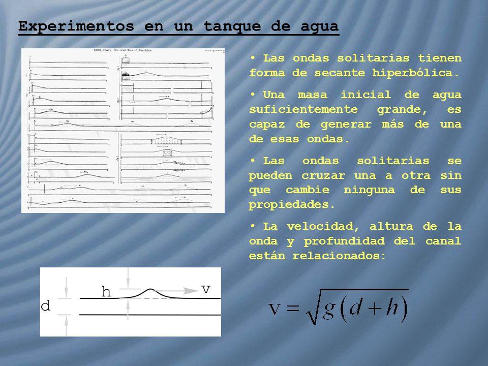 Experimentos en un tanque de agua Las ondas solitarias tienen forma de secante hiperbólica. Una masa inicial de agua suficientemente grande, es capaz