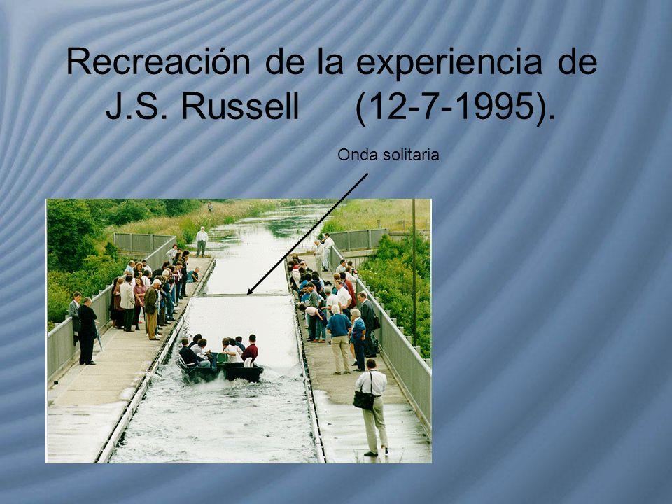 Recreación de la experiencia de J.S. Russell (12-7-1995). Onda solitaria