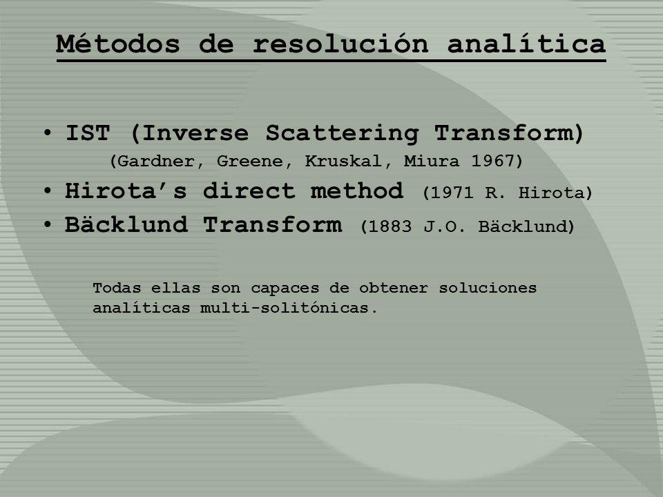 Métodos de resolución analítica IST (Inverse Scattering Transform) (Gardner, Greene, Kruskal, Miura 1967) Hirotas direct method (1971 R. Hirota) Bäckl