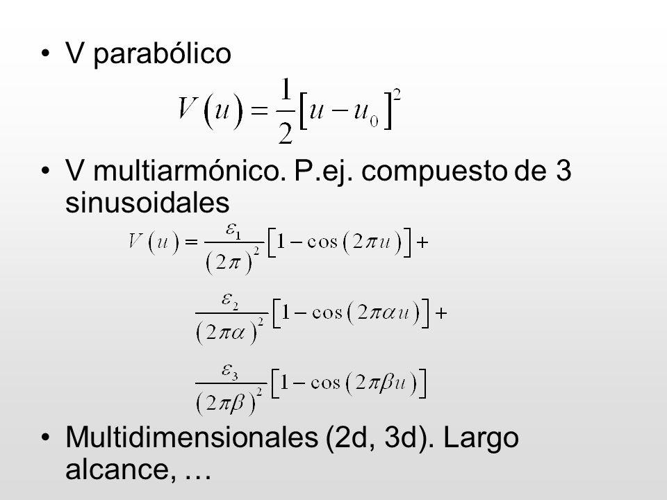 V parabólico V multiarmónico. P.ej. compuesto de 3 sinusoidales Multidimensionales (2d, 3d). Largo alcance, …