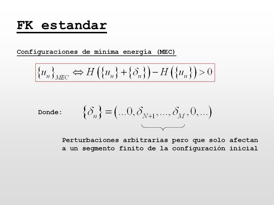 FK estandar Configuraciones de mínima energía (MEC) Perturbaciones arbitrarias pero que solo afectan a un segmento finito de la configuración inicial