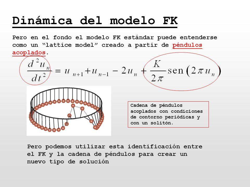 Dinámica del modelo FK Pero en el fondo el modelo FK estándar puede entenderse como un lattice model creado a partir de péndulos acoplados. Cadena de