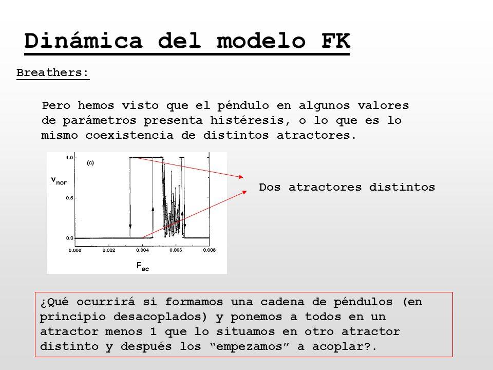 Dinámica del modelo FK Breathers: Pero hemos visto que el péndulo en algunos valores de parámetros presenta histéresis, o lo que es lo mismo coexisten