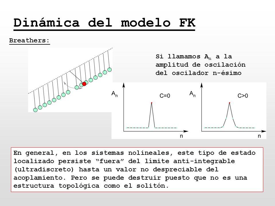 Dinámica del modelo FK Breathers: Si llamamos A n a la amplitud de oscilación del oscilador n-ésimo En general, en los sistemas nolineales, este tipo