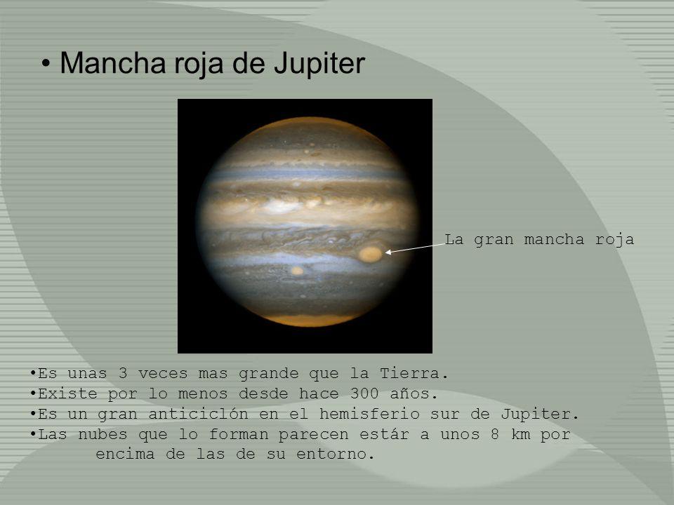 Mancha roja de Jupiter La gran mancha roja Es unas 3 veces mas grande que la Tierra. Existe por lo menos desde hace 300 años. Es un gran anticiclón en