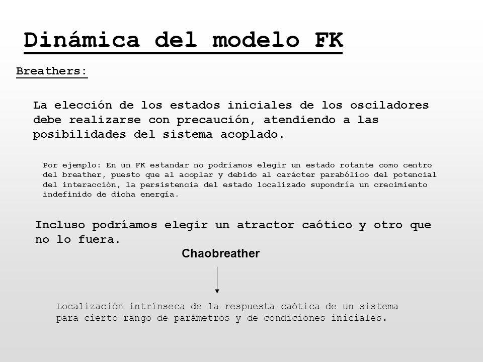 Dinámica del modelo FK Breathers: La elección de los estados iniciales de los osciladores debe realizarse con precaución, atendiendo a las posibilidad