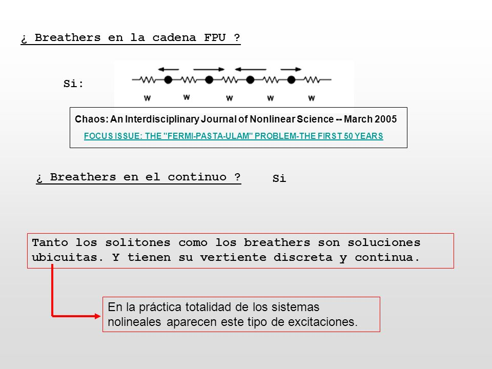 ¿ Breathers en la cadena FPU ? Si: Chaos: An Interdisciplinary Journal of Nonlinear Science -- March 2005 FOCUS ISSUE: THE