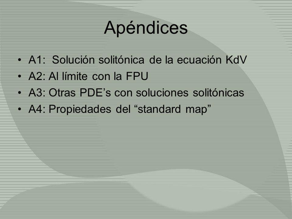 Apéndices A1: Solución solitónica de la ecuación KdV A2: Al límite con la FPU A3: Otras PDEs con soluciones solitónicas A4: Propiedades del standard m