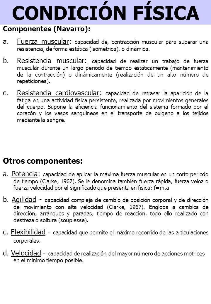 CONDICIÓN FÍSICA Otros componentes: a.