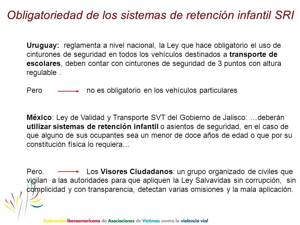 Uruguay: reglamenta a nivel nacional, la Ley que hace obligatorio el uso de cinturones de seguridad en todos los vehículos destinados a transporte de