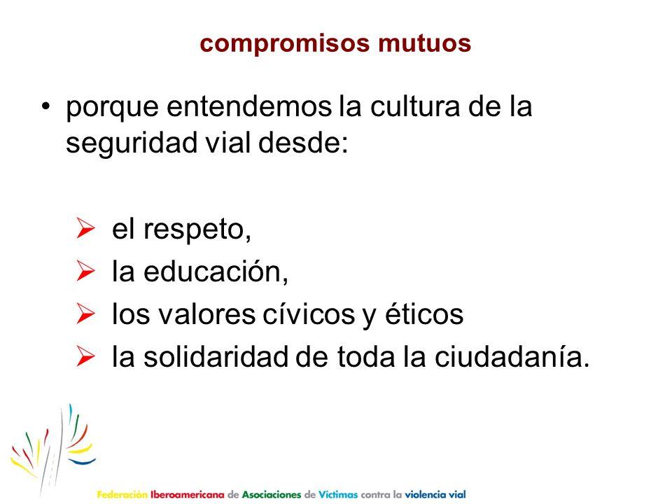 compromisos mutuos porque entendemos la cultura de la seguridad vial desde: el respeto, la educación, los valores cívicos y éticos la solidaridad de t