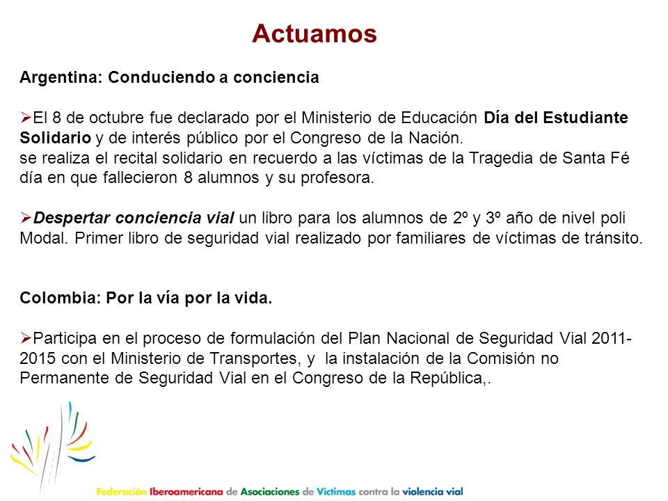 Argentina: Conduciendo a conciencia El 8 de octubre fue declarado por el Ministerio de Educación Día del Estudiante Solidario y de interés público por