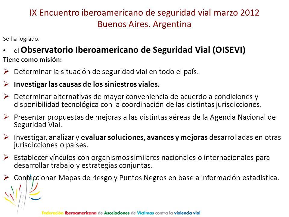 IX Encuentro iberoamericano de seguridad vial marzo 2012 Buenos Aires. Argentina Se ha logrado: el Observatorio Iberoamericano de Seguridad Vial (OISE