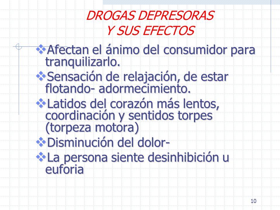 10 DROGAS DEPRESORAS Y SUS EFECTOS Afectan el ánimo del consumidor para tranquilizarlo.