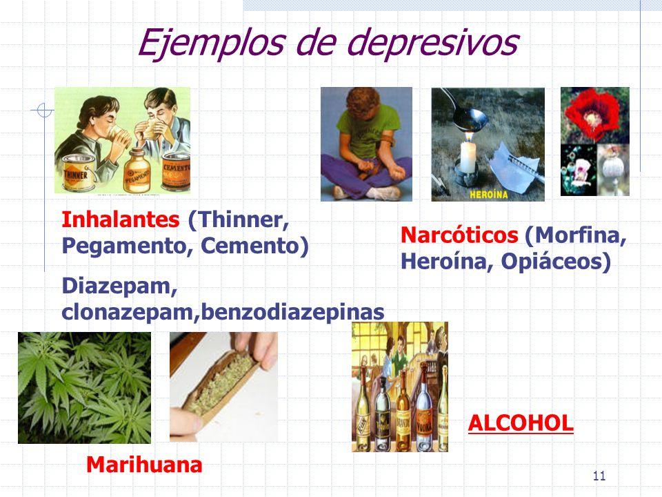11 Ejemplos de depresivos Inhalantes (Thinner, Pegamento, Cemento) Diazepam, clonazepam,benzodiazepinas Narcóticos (Morfina, Heroína, Opiáceos) ALCOHOL Marihuana
