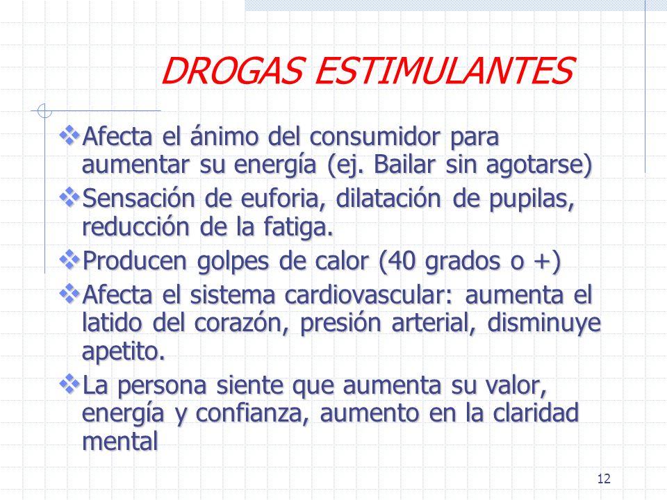 12 DROGAS ESTIMULANTES Afecta el ánimo del consumidor para aumentar su energía (ej.