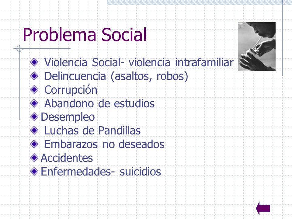 27 Problema Social Violencia Social- violencia intrafamiliar Delincuencia (asaltos, robos) Corrupción Abandono de estudios Desempleo Luchas de Pandillas Embarazos no deseados Accidentes Enfermedades- suicidios