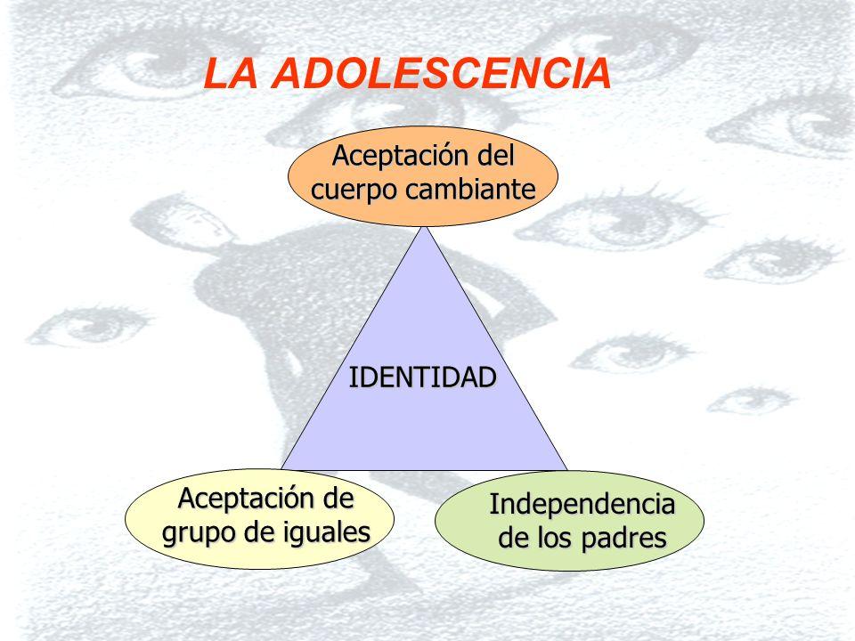 6 LA ADOLESCENCIA IDENTIDAD Aceptación de grupo de iguales Independencia de los padres Aceptación del cuerpo cambiante