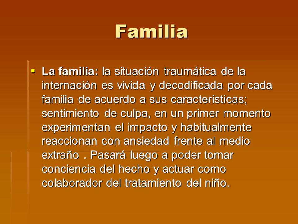Familia La familia: la situación traumática de la internación es vivida y decodificada por cada familia de acuerdo a sus características; sentimiento
