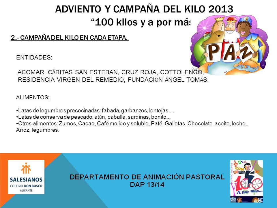 ADVIENTO Y CAMPAÑA DEL KILO 2013100 kilos y a por más 2.- CAMPAÑA DEL KILO EN CADA ETAPA.