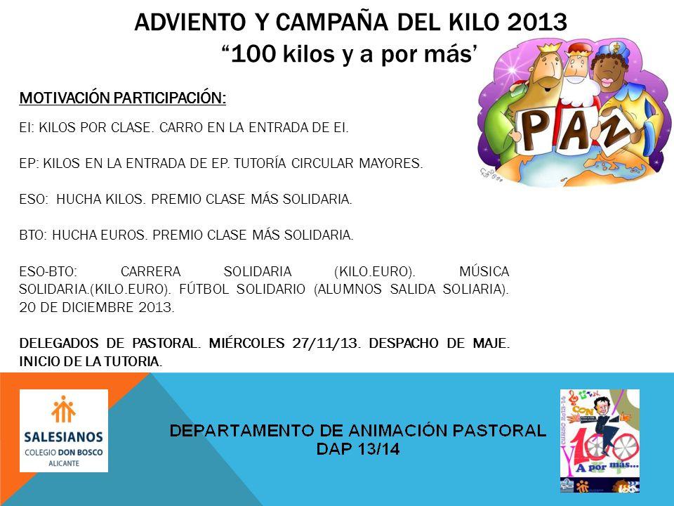 ADVIENTO Y CAMPAÑA DEL KILO 2013100 kilos y a por más MOTIVACIÓN PARTICIPACIÓN: EI: KILOS POR CLASE.
