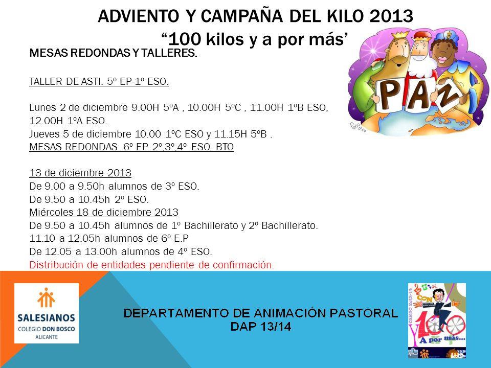 ADVIENTO Y CAMPAÑA DEL KILO 2013100 kilos y a por más MESAS REDONDAS Y TALLERES.