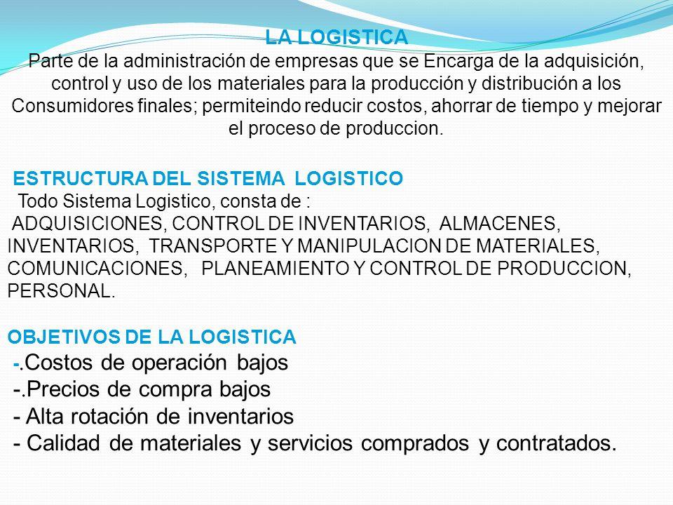 LA LOGISTICA Parte de la administración de empresas que se Encarga de la adquisición, control y uso de los materiales para la producción y distribució