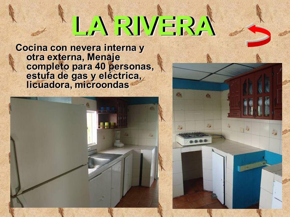 Cocina con nevera interna y otra externa, Menaje completo para 40 personas, estufa de gas y eléctrica, licuadora, microondas LA RIVERA