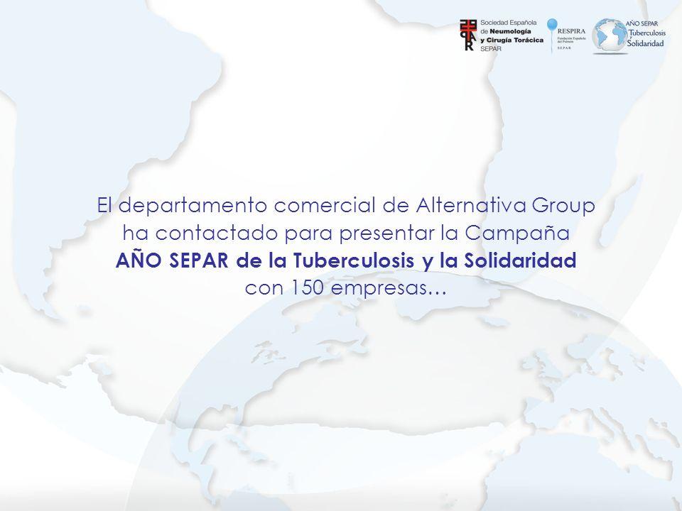 El departamento comercial de Alternativa Group ha contactado para presentar la Campaña AÑO SEPAR de la Tuberculosis y la Solidaridad con 150 empresas…